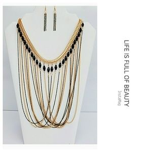 "Gold and Black ""Draped Chain Necklace Set"""